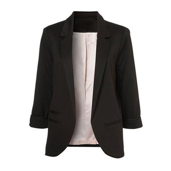Front Notched Blazer 2020 autumn Women Formal Jackets Slim Fit Blazer white Ladies suits 11 colors Open Office Work size S-XXL
