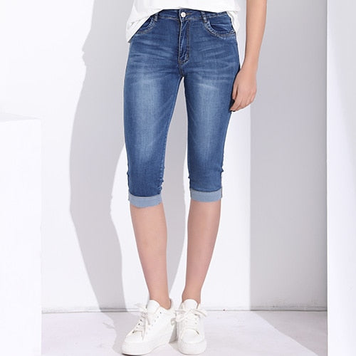 Plus Size Skinny Capris Jeans Woman Female Stretch Knee Length Denim Shorts Jeans Pants Women With High Waist Summer