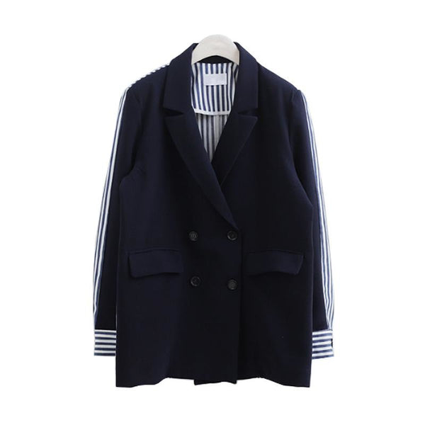Ladies Blazers Suit Women 2020 New Stripes Double Breasted Splicing Women Blazer Ladies Blazer Coat Womens Casual Wear