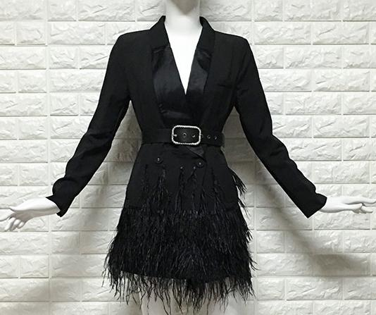 Women Blazer V Neck Ostrich Feather Tassel Jacket Office Blazers Jacket Women Formal Jacket Sexy Blazers Long Sleeve
