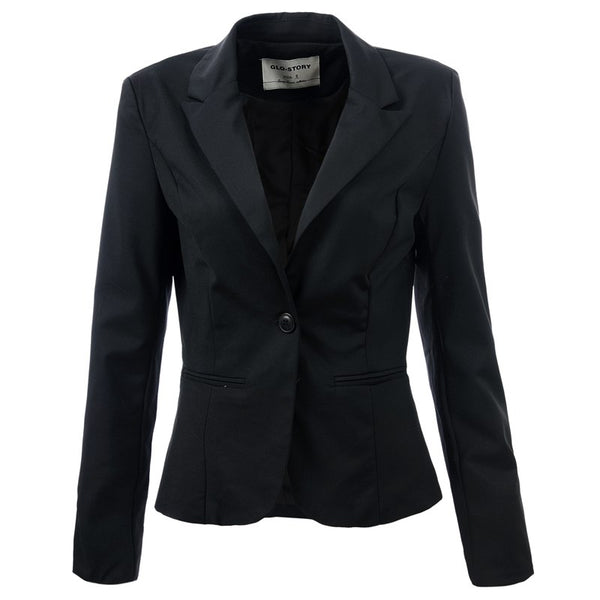 2020 New Spring Slim Women Blazer Coat Casual Women Jacket Long Sleeve One Button Suit Ladies Blazers Work Wear 1377