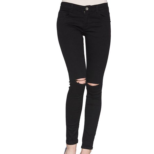 Women hole Ripped Skinng Jeans 2020 High Waist Elastic Ladies Fashion American Style Skinny Pencil Denim Pants 3295