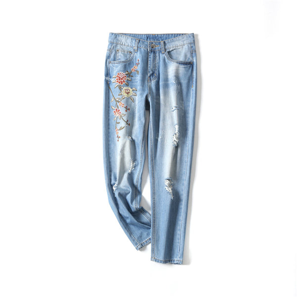 New Boyfriend Jeans Ripped High Waist Dense Denim Floral Embroidered Jeans For Women Plus Size C4527