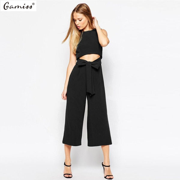 Sexy Hollow Out Bowknots Women Wide Leg Jumpsuit Ladies Sleeveless Overalls Belts Feminino Roompers Office Lady workwear