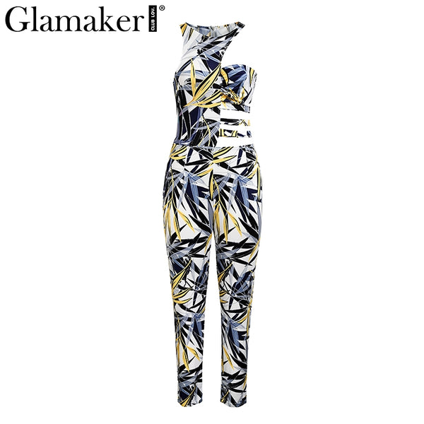 Boho halter print sexy women jumpsuit Hollow out sleeveless Summer jumpsuits&rompers Holiday ripped bodycon overalls
