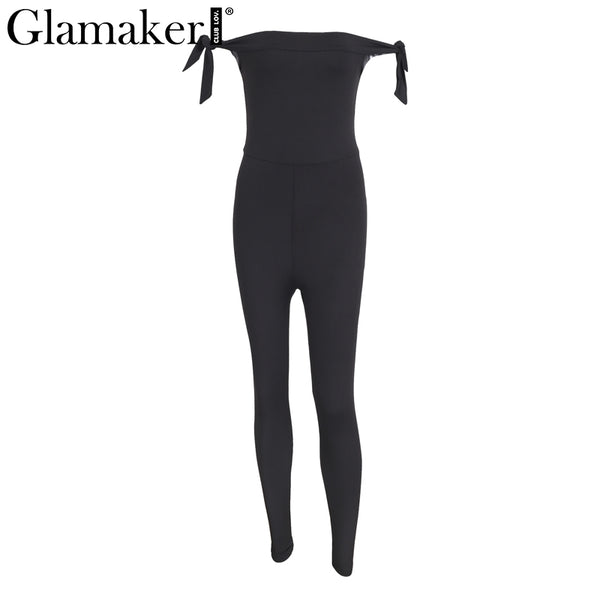 Off shoulder black women jumpsuit romper High waist solid jumpsuit overalls Sexy sleeveless bodycon jumpsuit romper
