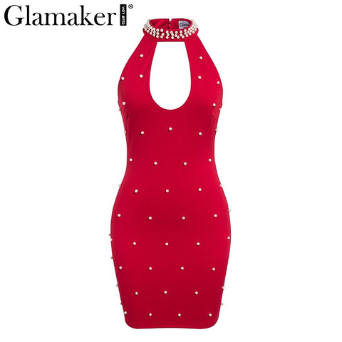 Pearl hollow out turtleneck party dress Women red mini bodycon dress vestidos Holiday female fitness summer dress 2020