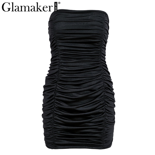 Pleated bodycon strapless sexy dress Women fitness elegant white beach dress Wrap party club summer dress 2020 vestidos