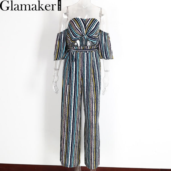 Spring off shoulder two piece striped wide leg pants Sexy party  backless jumpsuit romper bow summer elegant jumpsuit