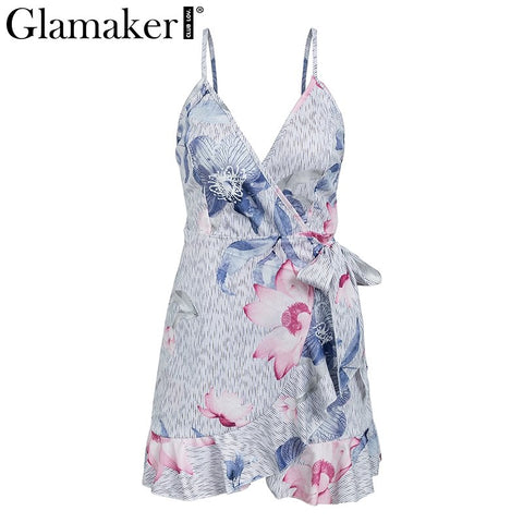 Striped print strap sash party dress Women deep v neck ruffle floral print sexy beach dress Bodycon summer dress 2020