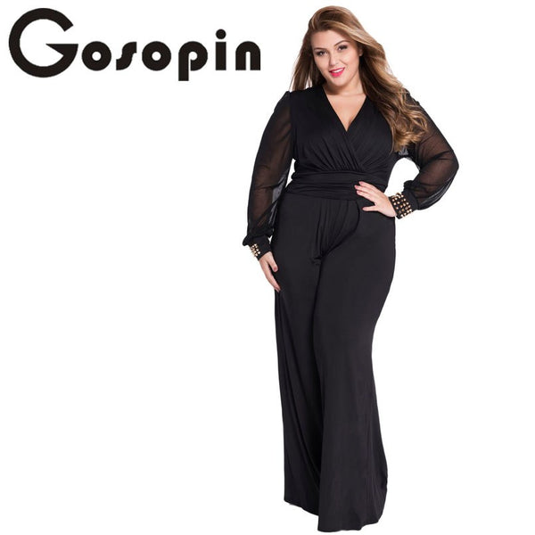 Hot Selling Woman Wide Leg Elegant jumpsuits Black Embellished Cuffs Long Mesh Sleeves Jumpsuit LC6650 Combinaison Femme