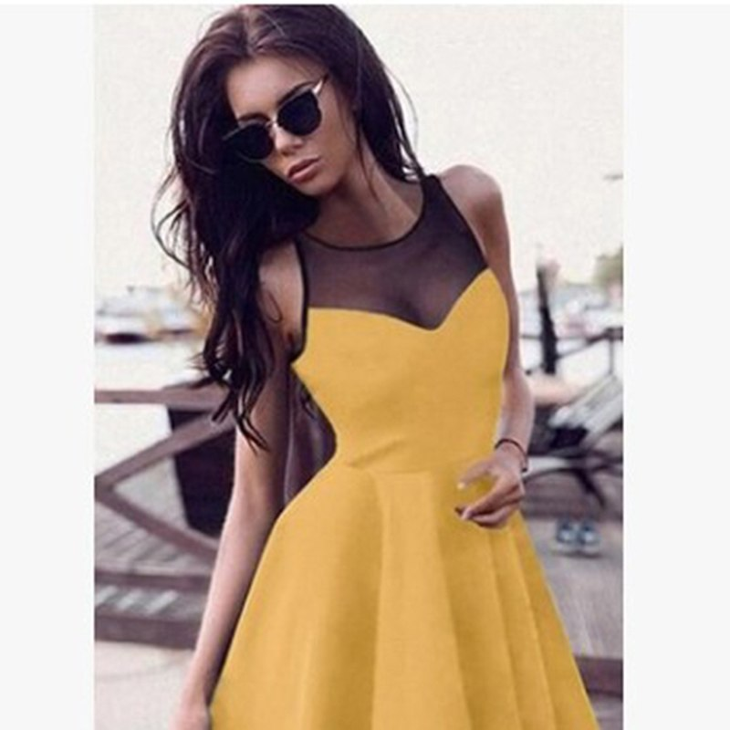 7ae13d730fb20 Gothic Casual Dress Summer Women Black A-Line Sleeveless Hollow Party  Preppy Fashion Slim Mesh ...