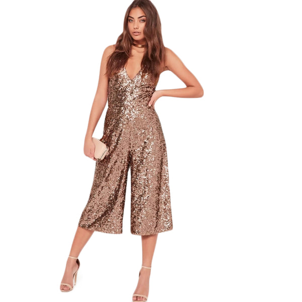 HDY 2018 Solid Sexy Sequined Women Jumpsuits Off Shoulder Strap V-Neck Casual Chic Female Summer Rompers