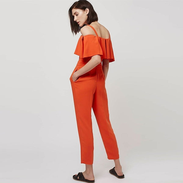 HDY Brand Women Orange Ruffles Sexy Elegant Jumpsuits Cold Shoulder Slash Neck Zipper Back Female Casual Jumpsuits