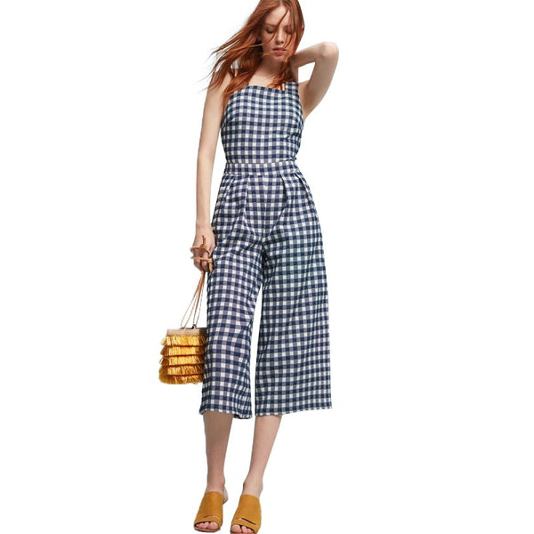 HDY White Blue Plaid Backless Sexy Women Jumpsuits Back Cross Sleeveless Playsuits Casual Preppy Style Vintage Rompers