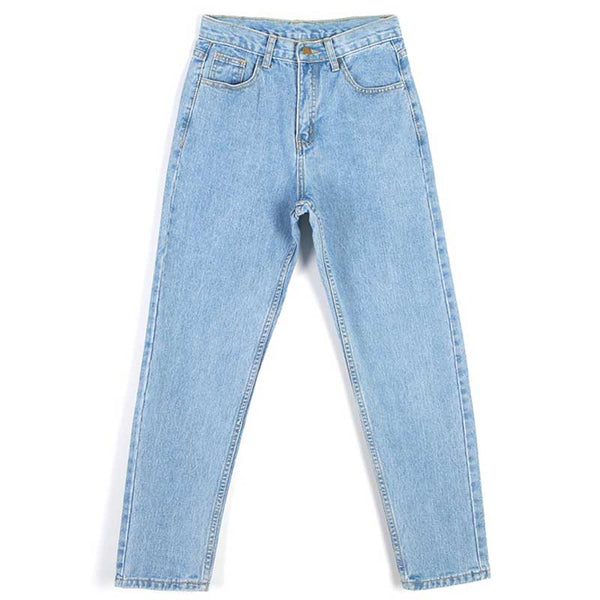 High Waist Ankle-Length Mom Jeans Women Spring Washed Denim Straight Women Jeans Trousers Women Pants WKN481