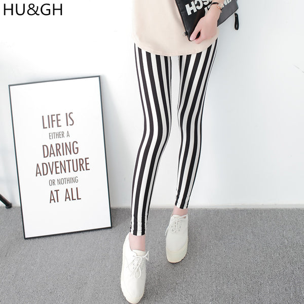 Black and White Vertical Striped Printed Women Leggings Fashion Casual Elasticity Ankle-Length Pant Female Fitnes Legging