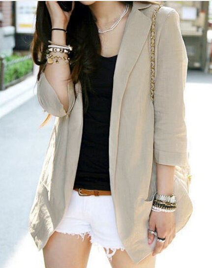 2020 Summer Women Natural Linen Fabric Blazer Slim Thin 3 Quarter Sleeve Cardigan Suit Tops Beige/White S/M/L/XL/XXL