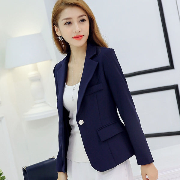 Spring Autumn Suit Slim Fashion Long Sleeve Single Button Women Blazer Jacket Gray/Wine Red/Dark Blue S/M/L/XL/XXL