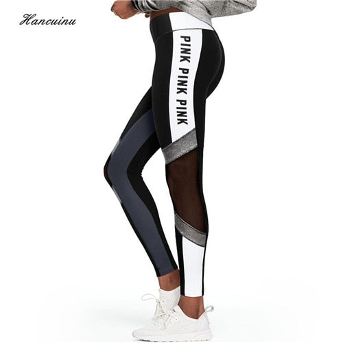 Women's Mesh Patchwork Pink Leggings Pink Letter Print Fitness Pants Female Sexy Perspective Skinny Workout Leggins