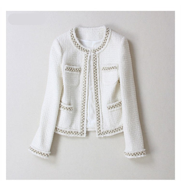Handmade 2020 Runway Designer Luxury Fashion Blazer Suits O Neck Hidden Breasted White Wo Beading Tweed Short Coat Blazer