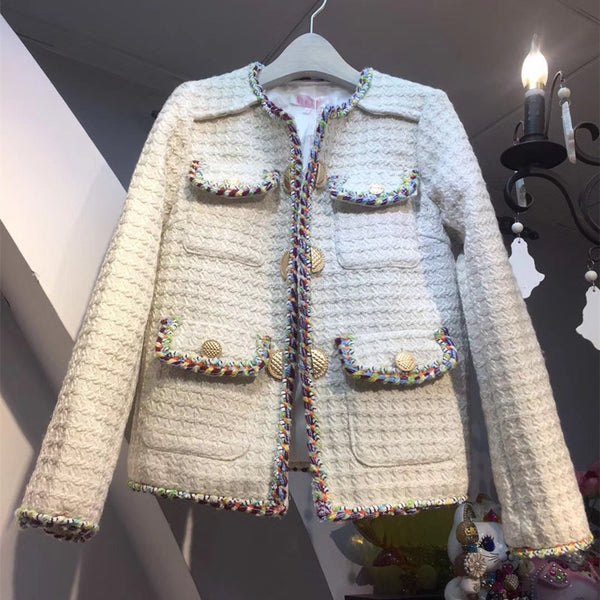Handmade 2020 Runway Designer Luxury Fashion Tweed Weave Blazers Cardigans with Pockets Long sleeves Buttons Office Wear