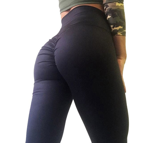 Fashion Bottom Wrinkles Push Up Leggings Women Fitness Slim Jeggings High Elastic Wicking Dry Quick Sporting Pants