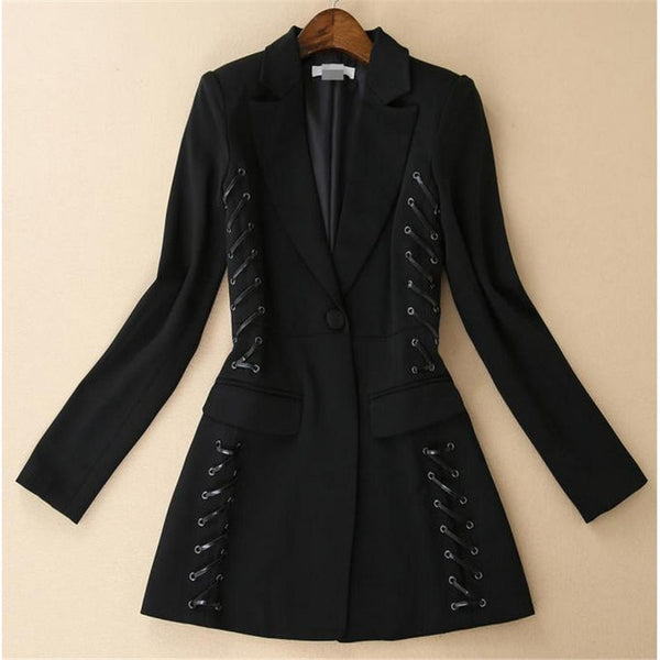 High Quality 2020 Autumn Winter Bandage Blazer Jacket Women Long Sleeve One Button Lacing Motorcycle Blazer Slim Outerwear A782