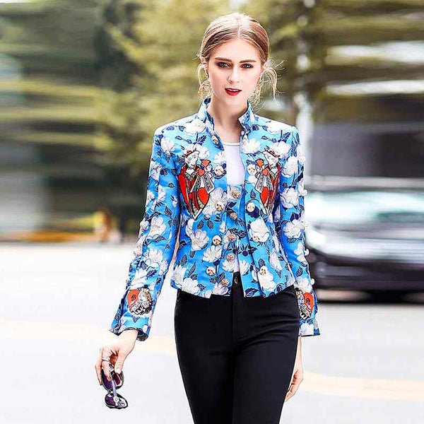 High Quality Brand Womens Embroidery Floral 2020 New Fashion Stand Collar Printing Blazers Female Long Sleeve Short Coats Slim
