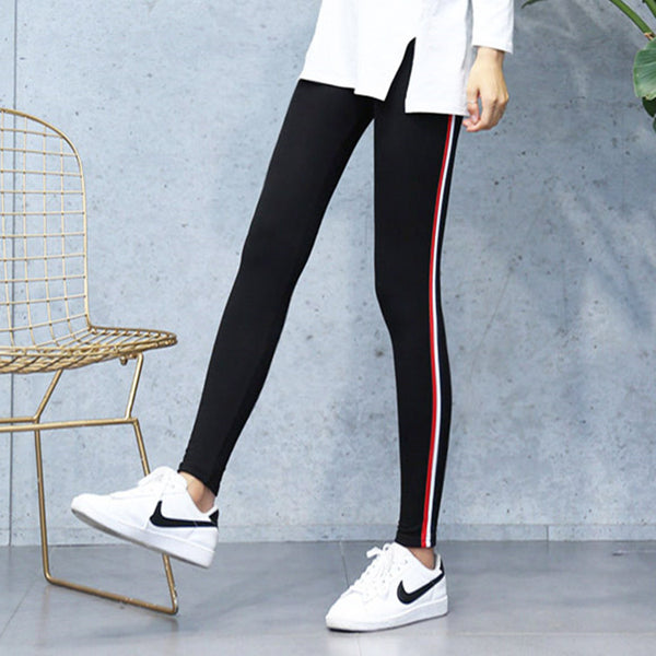 High Quality Cotton Leggings Side stripes Women Casual Legging Pant Plus Size 2XL High Waist Fitness Leggings Plump Female