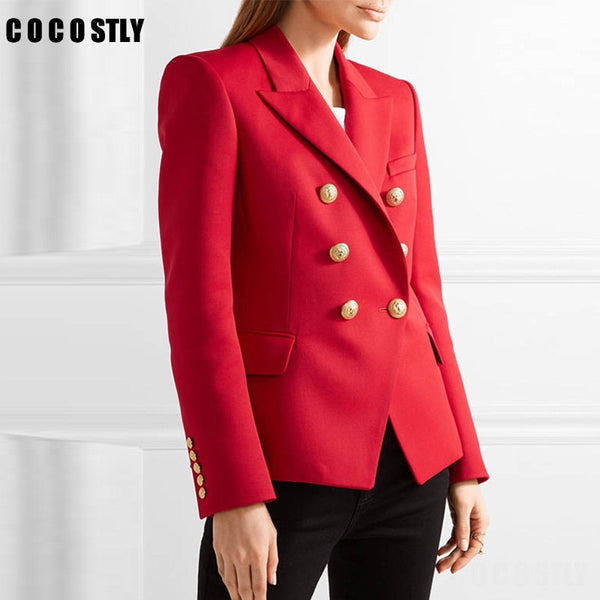 High Quality Fashion 2020 Designer Blazer Women's Work Office Lady Blaser Metal Lion Buttons Double Breasted Red Blazer Outer