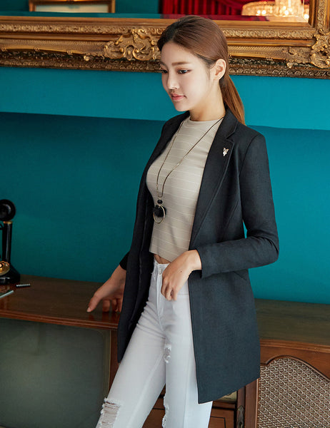 High Quality Long Suit Korean Long Sleeve Solid Color Small Suit Professional Long Blazer Jacket