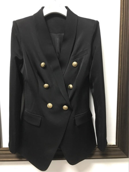 High Quality New Fashion 2020 Designer Blazer Women's Office Suit Metal Lion Buttons Double Breasted Blazer Outer Coat