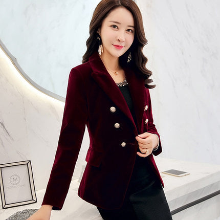 High Quality Spring and Autumn woman new Slim gold velvet small suit jacket female leisure blazer Double-breasted suit