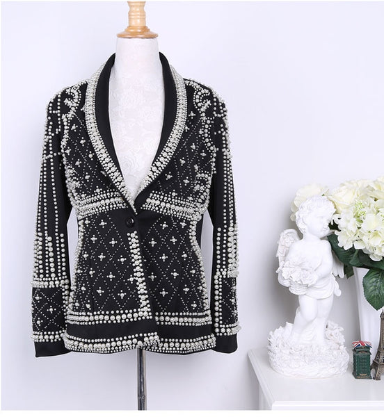 High Quality Women Blazer jackets 2020 new Fashion Paris Brand Designers Beaded Embellished Blazer jacket Feminino Woman Clothes