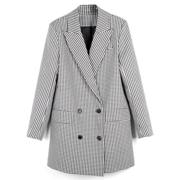 High Quality Women Gray Plaid Brand Suit Jacket 2020 Spring and Autumn Female Long Slim Thin Suit Blazer Vintage Jacket
