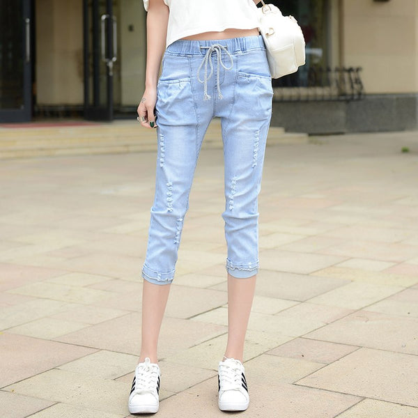 High Waist Denim Pant Womens Casual Ripped Hole Jeans 2020 Vintage Washing Loose Thin Summer Capri Pants F196
