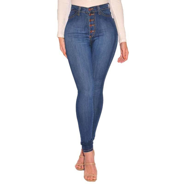 High Waist Women Jeans Bleached Single Breasted Cowboy Denim Pants Package Hip Stretch Female Trousers Plus Size Bottoms HM1277