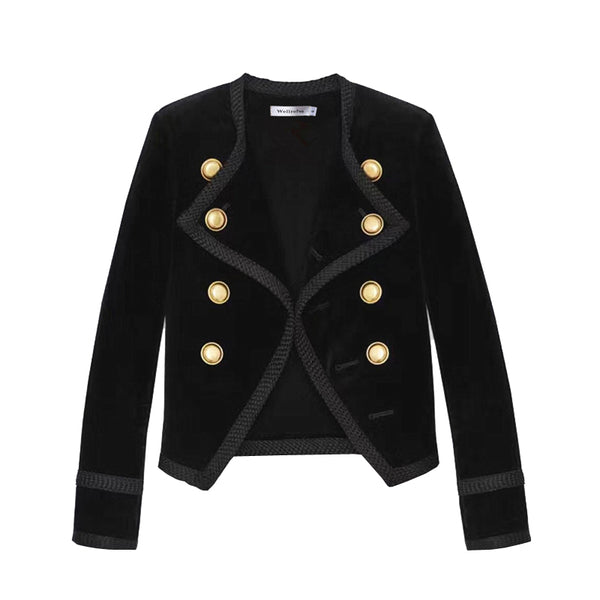 High quality Runway Women Notched Collar Short Jacket Coat Autumn Winter Double Breasted Suit Female Velvet Black Slim Outwear