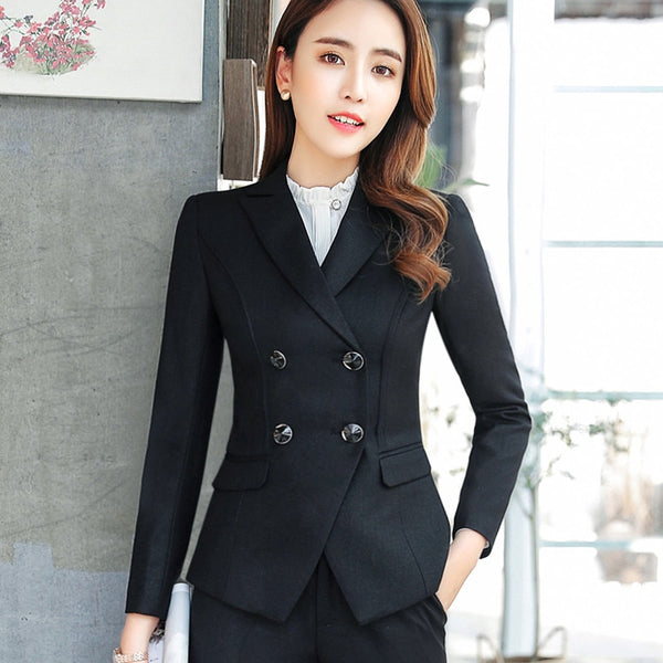 High quality business blazer women spring Slim fashion Double Breasted long sleeve  jacket office ladies temperament work wear