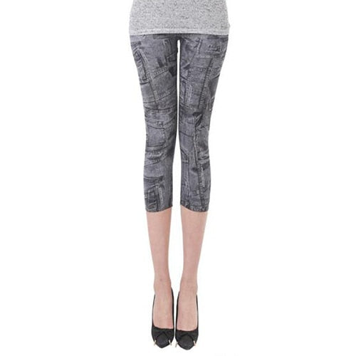 Hot Summer Spring Women Casual Seamless Imitation Cowboy Printed Leggings Stretch Skinny Cropped To the Calf Leggings Half Pants