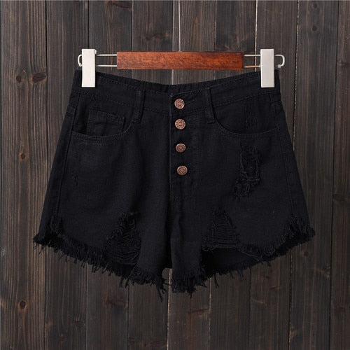 Jeans Shorts Women 2020 Summer High Waist Holes Ripped Vintage Casual Woman Tassels Short Femme Pantalon Ladies Hot Denim Shorts
