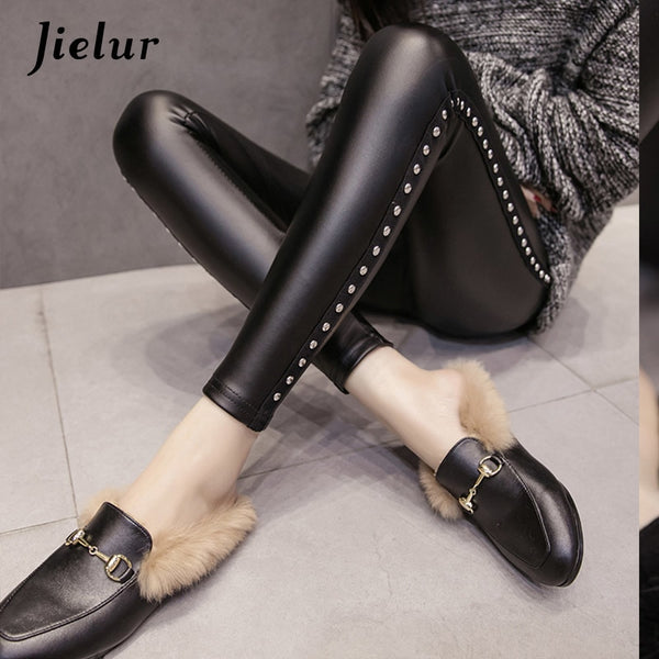 New Winter Fleece Matte PU Leather leggings Women Fashion Rivets Push Up Pencil Pants 4 Colors S-XXL Slim Lady Leggins