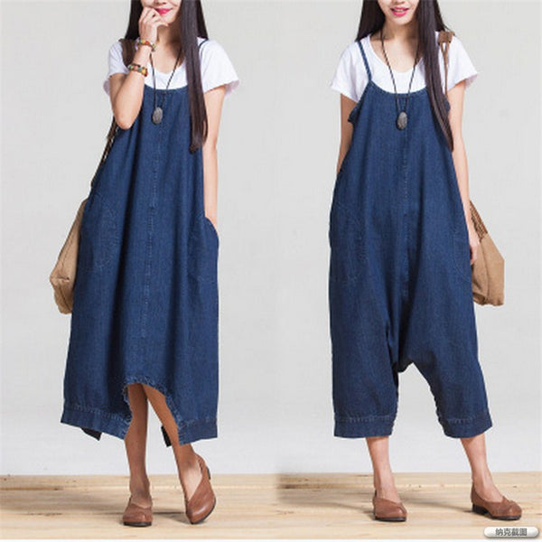 Women Denim Jumpsuits Loose Casual 2020 Autumn New Casual Blue Korean Fashion Women Clothes Cute Rompers