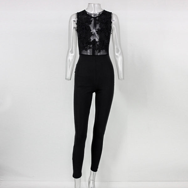 Summer Jumpsuit Women Lace Embroidery Back Zipper Bodysuits Hollow Out Stitching Sexy Romper White Black wholesale