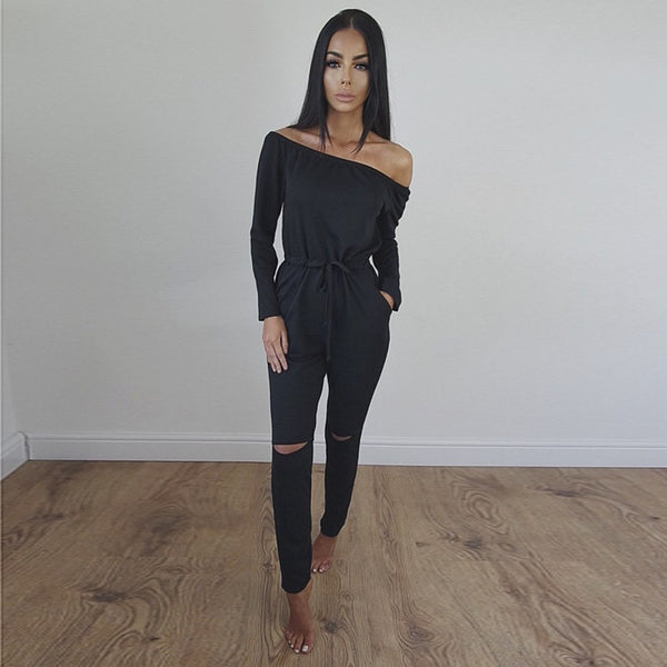 Jumpsuits Women rompers 2018 New off shoulder solid color hollw out autumn Summer women's jumpsuits Vestidos De Festa SJVD9093