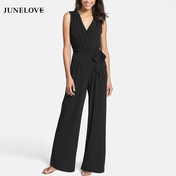 JuneLove 2018 spring women casual full length loose jumpsuits solid solid lace up wide leg playsuits sleeveless v neck playsuits