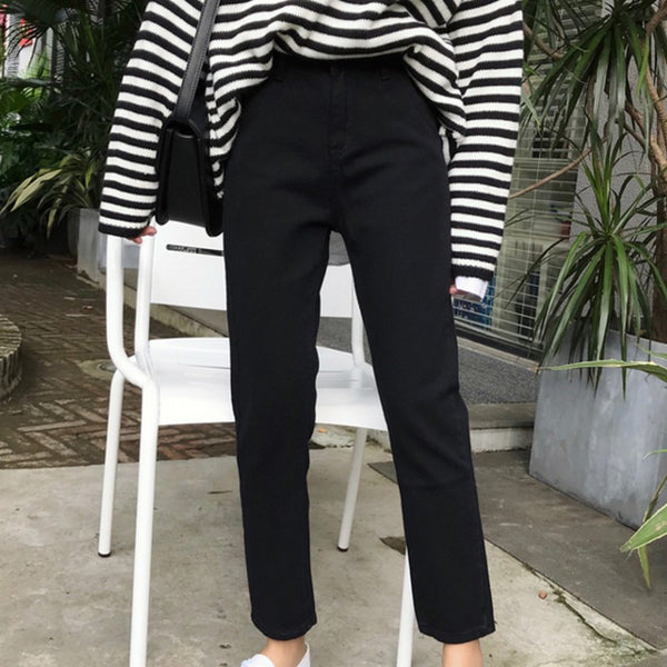 Fashion Black Jeans for Women Clothing Solid High Waist Pantalones Vaqueros Mujer All Match Ladies Denim Trousers S-XL