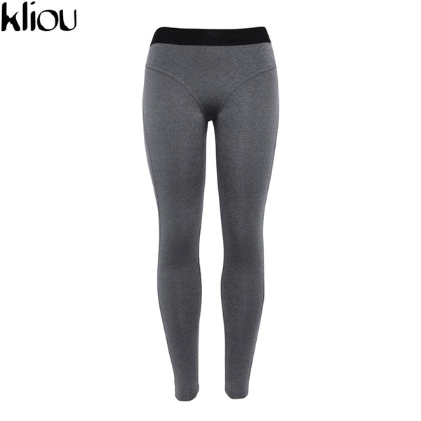 Kilou 2018 New Sexy Women Leggings Gothic Patchwork Design Trousers Pants Gray/Dark Gray Capris Sportswear New Fitness Leggings
