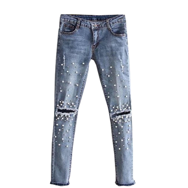 Knee Hole Ripped Jeans Women Stretch Denim Pencil Pants Casual Slim Fit Rivet Pearl Jeans Autumn Long Trousers Low Waist Cowboy